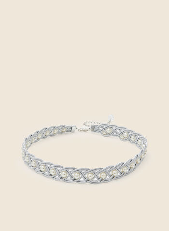 Braided Pearl Chain Belt, Silver,  fall winter 2020, belt, braided, chain, silver finish, holiday, holiday 2020, gift, pearl inserts