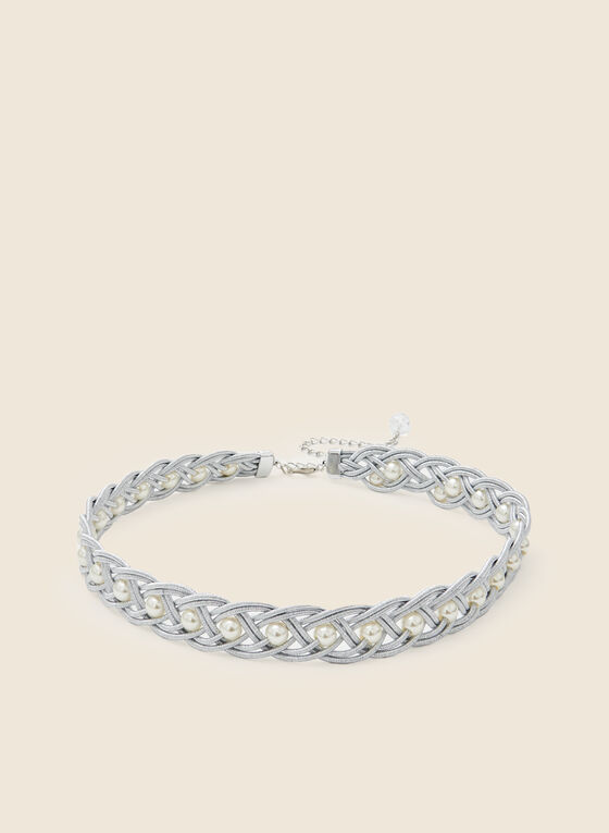Braided Pearl Chain Belt, Silver