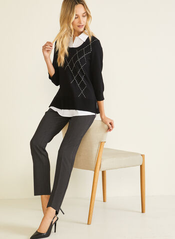 Argyle Detail Fooler Sweater, Black,  sweater, fooler, shirt collar, contrast, argyle, fall winter 2020