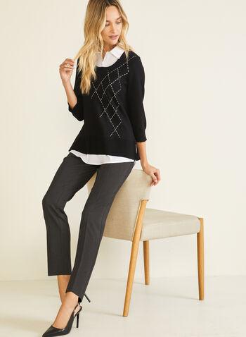 Pull illusion à détails contrastants, Noir,  pull, illusion, col chemisier, contrastant, tricot, automne hiver 2020
