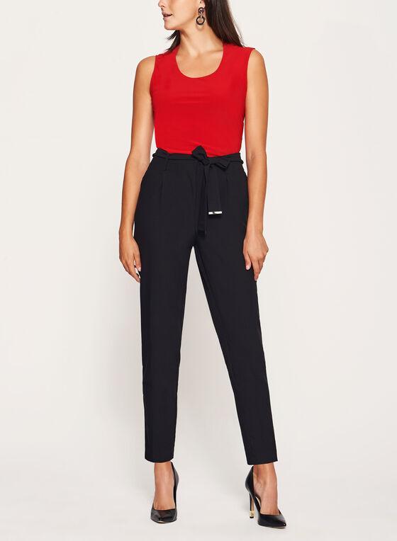 Pantalon à jambe droite et ceinture, Noir, hi-res