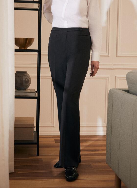 Louben - Button Closure Straight Leg Pants, Grey