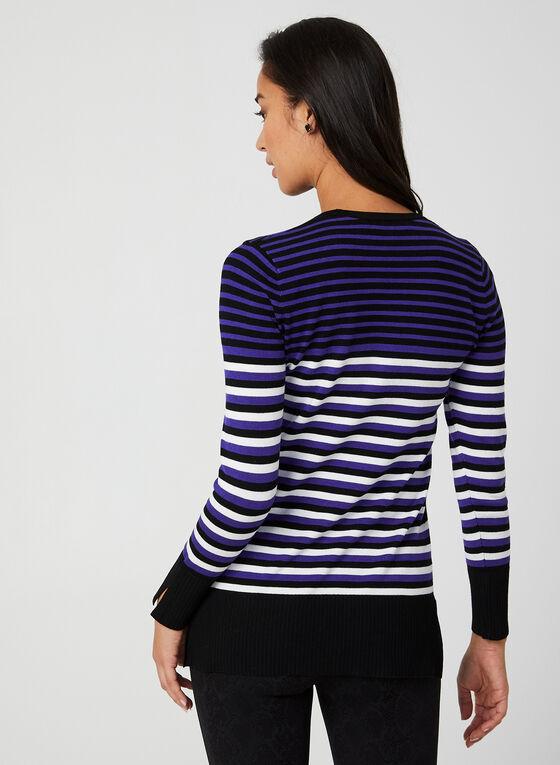 Stripe Print Sweater, Black