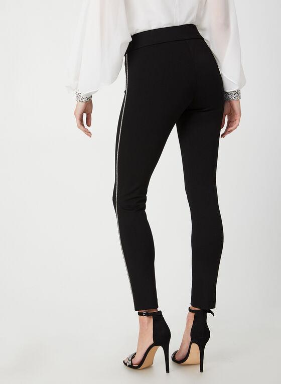 Pantalon coupe cité à détails strass, Noir