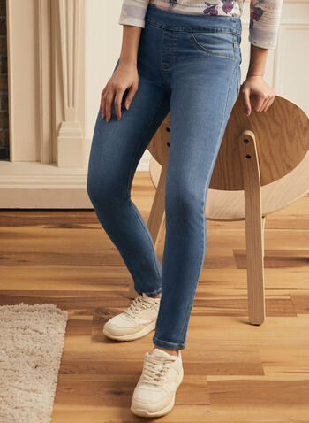 Pull-On Slim Leg Jeans, Blue,  jeans, slim leg, pull-on, stretchy, pockets, spring summer 2021