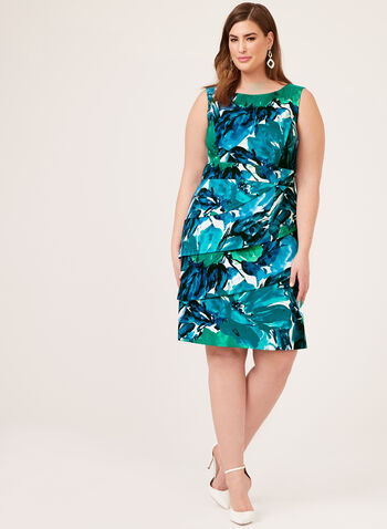 Floral Print Sleeveless Dress, Blue, hi-res