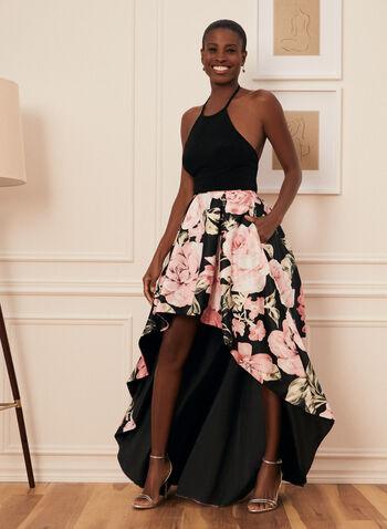 Floral Print Ball Gown, Black,  prom dress, ball gown, halterneck, sleeveless, jersey, satin, floral, pockets, high low, crinoline, spring summer 2021