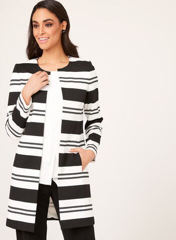 Long Striped Open Front Blazer, Black, hi-res