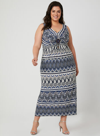 Robe maxi à motif tribal, Bleu, hi-res,  robe maxi, tribal, sans manches, col V, médaillon, jersey, printemps 2019