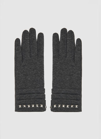 Studded Touchscreen Gloves, Grey, hi-res
