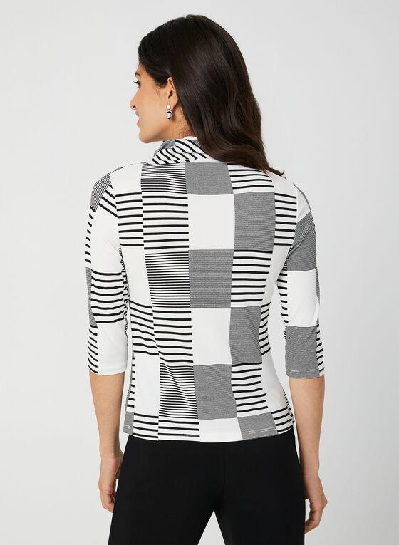 Haut motif patchwork à manches coude, Blanc, hi-res