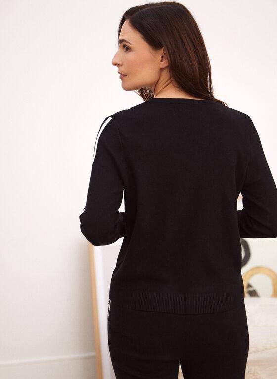 Contrast Trim Sweater, Black