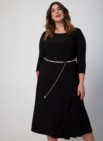 Fit & Flare Jersey Dress, Black, hi-res,  dress, day dress, midi, 3/4 sleeves, long sleeves, jersey, fit & flare, fall 2019, winter 2019