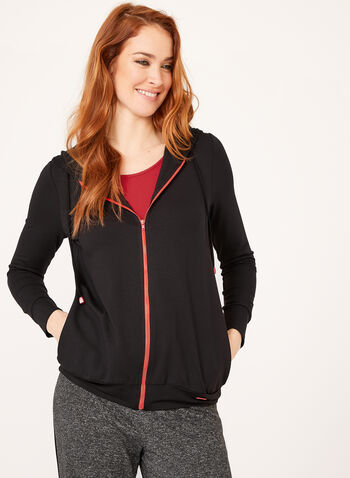 Long Sleeve Hooded Sweater , Black, hi-res