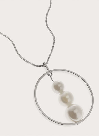 Pearl Insert Ring Pendant Box Chain, Off White, hi-res