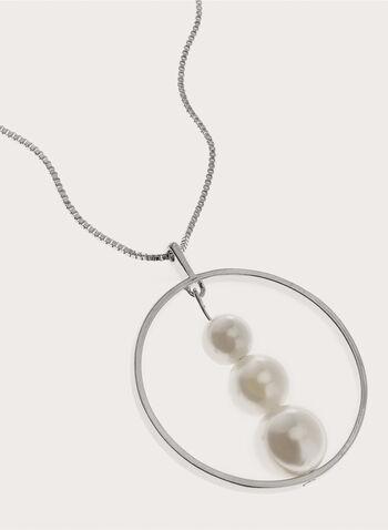 Collier sautoir avec cerceau et perles, Blanc cassé, hi-res