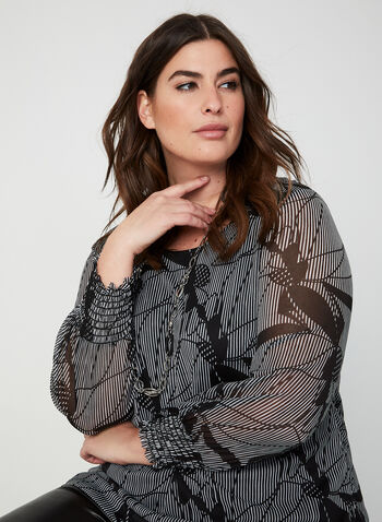 Striped Leaf Print Top, Grey,  Canada, top, mesh, shirred cuffs, long sleeves, leaf print, stripes, fall 2019, winter 2019