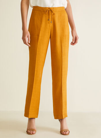 Pantalon coupe moderne à jambe large, Jaune,  pantalon, pull-on, moderne, jambe large, poche, printemps été 2020