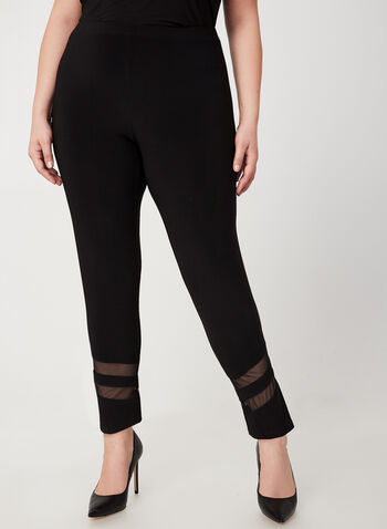 Frank Lyman - Mesh Detail Slim Leg Pants, Black, hi-res,  Fall winter 2019, slim leg, made in Canada, pull on