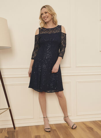 Marina - Sequin Embellished Lace Dress, Blue,  dress, sequin, lace, illusion, mesh, evening, occasion, 3/4 sleeves, fit flare, spring summer 2021