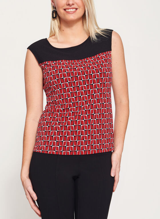 Geometric Textured Chiffon Detail Top, Red, hi-res