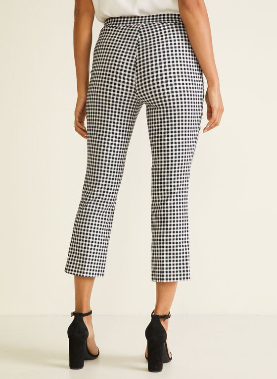 Gingham Print Pull-On Capris, Black