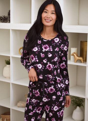 Haut de pyjama à motif de roses, Noir,  automne 2021, vêtement de nuit, haut de pyjama, t-shirt, pyjama, col rond, encolure arrondie, manches longues, doux, poche à la poitrine, détail, poche, motif, floral, rose, imprimé. roses, fleuri, fleur, plus