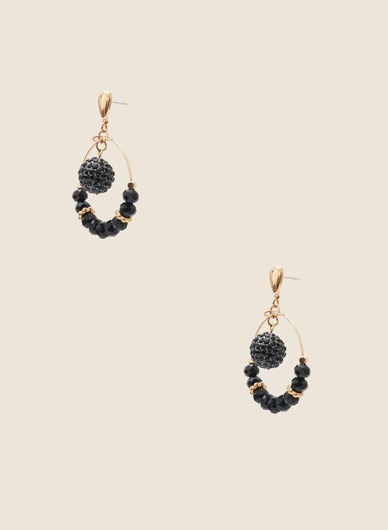Ring & Bead Earrings, Black