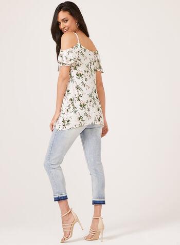 Enough About Me - Floral Print Cold Shoulder Top , White, hi-res