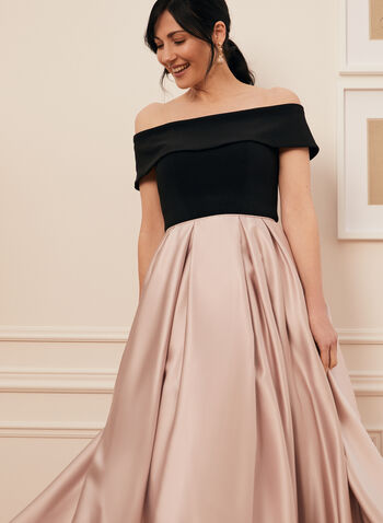 Off-The-Shoulder Ball Gown, Black,  prom dress, ball gown, crinoline, off-the-shoulder, jersey, satin, pockets, high low, spring summer 2021