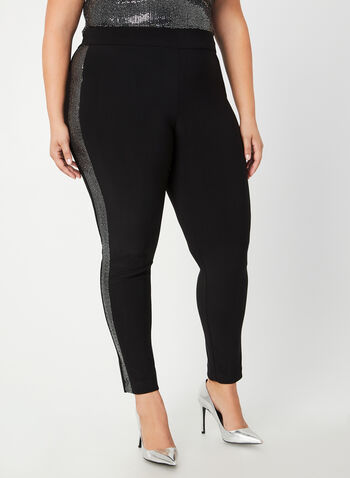 Joseph Ribkoff - City Fit Pants, Black, hi-res,  Canada, Joseph Ribkoff, pants, City Fit, slim leg, side tape, pull on, elastic waist, Ponte de Roma, fall 2019, winter 2019