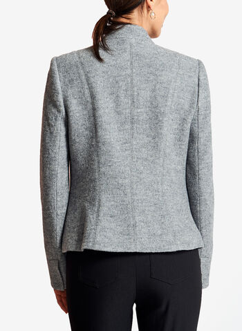 Zipper Trim One-Button Wool Jacket, , hi-res