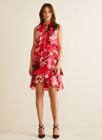 Floral Print Tiered Dress, Pink,  day dress, sleeveless, mock neck, floral, tiered, chiffon, tulip, spring summer 2020