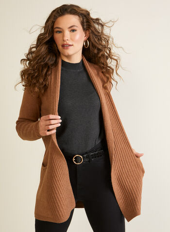 Open Front Shawl Collar Cardigan, Brown,  knit, cardigan, open front, long sleeves, rib knit, pockets, shawl collar, fall winter 2020
