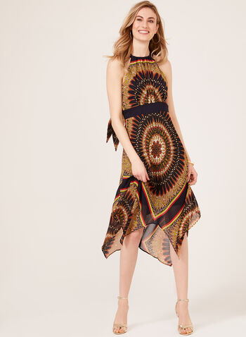 Aztec Print Halter Dress, Brown, hi-res