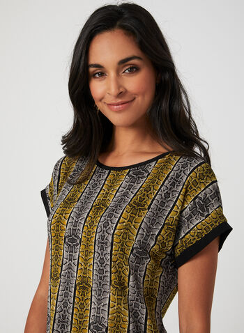 Snakeskin Print Top, Brown, hi-res,  jersey, boat neck, contrast trim, fall 2019, winter 2019