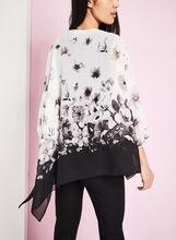 3/4 Sleeve Floral Print Poncho Blouse, White, hi-res