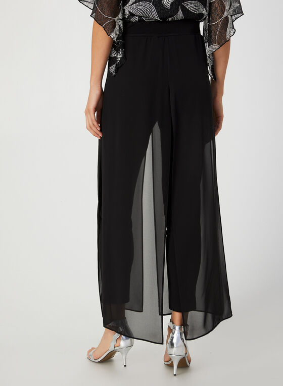 Modern Fit Chiffon Overlay Pants, Black