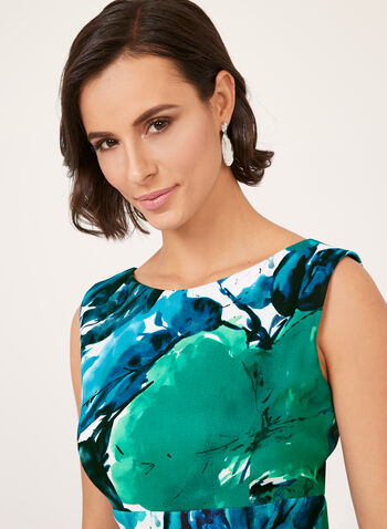 Abstract Floral Print Fitted Dress, Blue, hi-res
