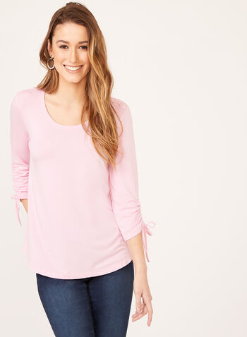 Button Trim Tie Sleeve Top, Pink, hi-res