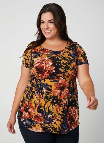 Haut fleuri à taille empire, Brun, hi-res,  floral, imprimé, fleurs, motif, motifs, automne hiver 2019, haut à manches courtes, blouse à manches courtes