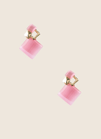 Stone Stud Earrings, Pink,  earrings, stone, square, gold, stud, spring summer 2020