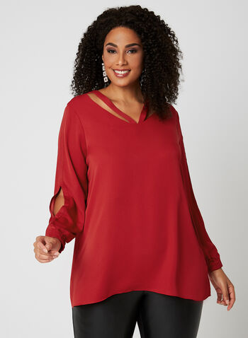 Long Sleeve Cutout Top, Red, hi-res