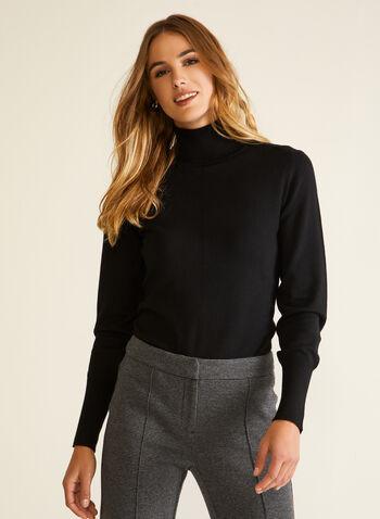 Essential Turtleneck Sweater, Black,  fall winter 2020, turtleneck, sweater, warm, stretch, comfort, long sleeve, pointelle, topstitch