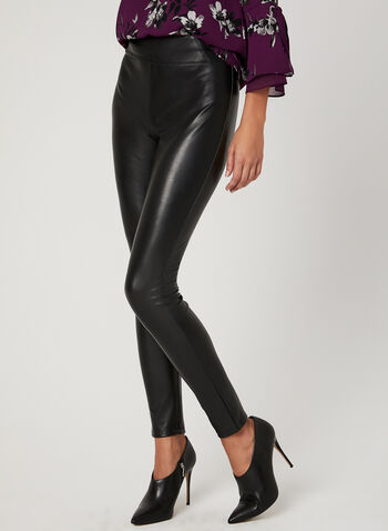Legging pull-on en similicuir, Noir, hi-res