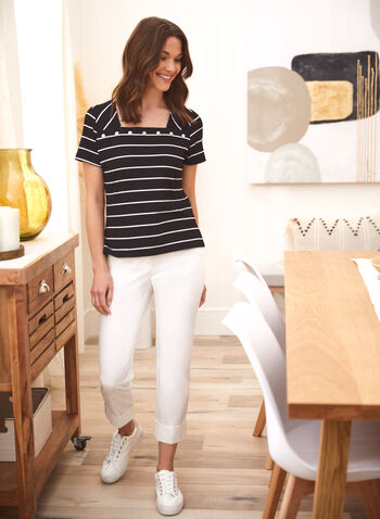Striped Stud Detail Tee, Black,  spring summer 2021, Alison Sheri, designer, tee, t-shirt, top, square neck, stripe print, striped, studded, stud detail, two tone, short sleeve