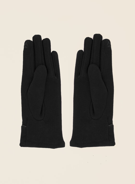 Cuffed Button Detail Gloves, Black
