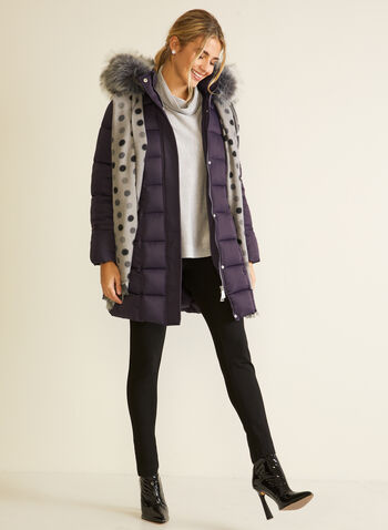 Vegan Down Quilted Coat, Purple,  fall winter 2020, coat, winter, jacket, stand collar, removable hood, faux fur trim, long sleeve, zipper, pocket, quilting, matter, water repellent, vegan down, quilted, warm, machine washable, laura exclusive