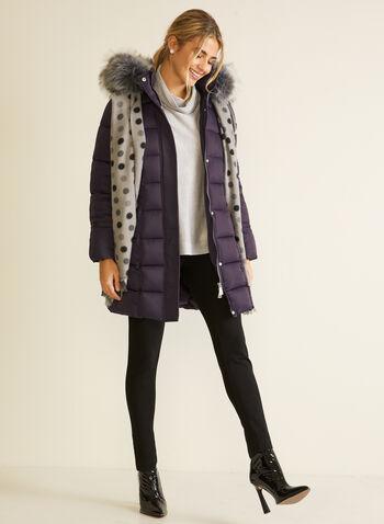 Manteau en duvet végane matelassé, Violet,  automne hiver 2020, manteau, manteau d'hiver, matelassé, capuchon, fausse fourrure, poches, rembourrage, bourre, duvet, végane, hydrofuge