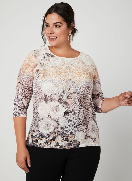 T-shirt fleuri à détail crochet, Blanc